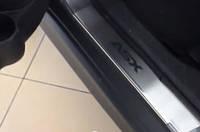 Накладки на пороги Mitsubishi asx (митсубиси асх), логотип гравировкой, нерж.