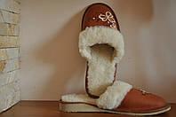 Тапочки женские на натуральной овчине кожаные