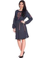 Женское вышитое платье с поясом