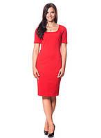 Красное платье из трикотажа (размеры S-4XL)