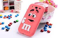 Резиновый 3D чехол M&M's для Samsung Galaxy A3 A300 розовый