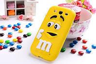 Резиновый 3D чехол M&M's для Samsung Galaxy A3 A300 жёлтый
