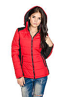 Куртка женская молодежная Мари  (красный/черный), фото 1