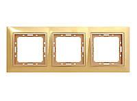 Рамка 3 места LXL Tesla золотой/бронзовый