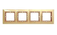 Рамка 4 места LXL Tesla золотой/бронзовый
