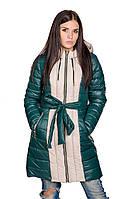 Женская зимняя куртка Алена (зеленый/бежевый)