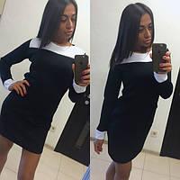 Женское модное черное платье с карманами