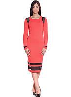 Коралловое женское платье с прозрачными вставками