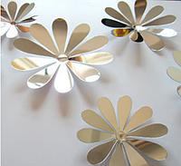 """Наклейка на стену, наклейка цветок, наклейки на шкаф """"набор 12шт цветов зеркальных"""""""