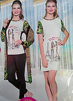 "Комплект женский ""4 предмета"" халат пижама и ночнушка №14415"