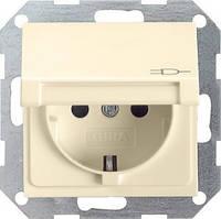 Розетка с з/к и крышкой GIRA System 55 кремовый - 045401
