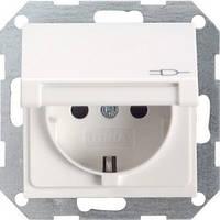 Розетка с з/к и крышкой GIRA System 55 белый - 045403