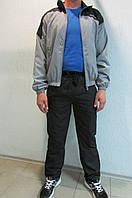 Мужской спортивный костюм Lotto 3233 светло серый с черным  код 329 б