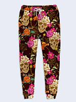 Женские  Брюки Черепа в цветах
