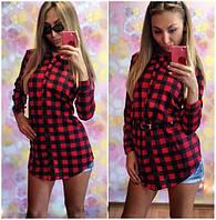 Женское стильное платье-рубашка в клеточку (2 цвета)