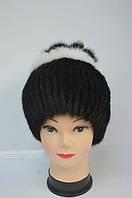 Женская меховая  шапка кубанка с белой обводкой