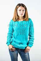 Джемпер пуловер кофточка кофта оригинальная бирюзовая размер 48-50 AL9