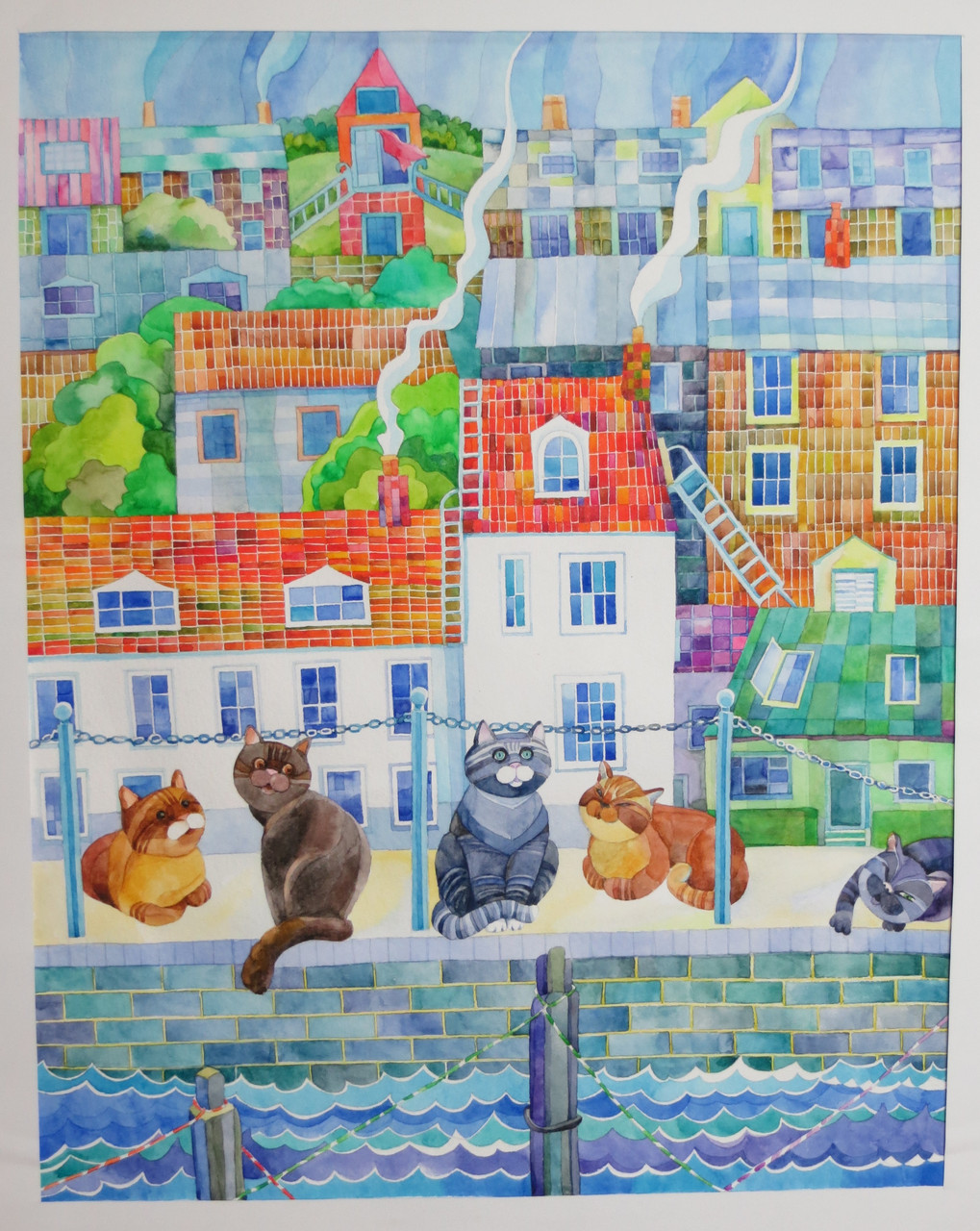 "Картина ""Рыбачья пристань"" 2010 г. бумага, акварель Размеры: 50х40 см."