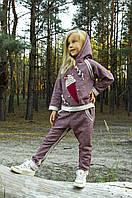 Детский трикотажный спортивный костюм (бордо меланж) для девочки