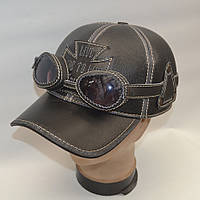 Мужская кожаная байкерская кепка с очками - (Арт 29-138)