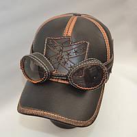 Мужская кожаная байкерская кепка с очками - Модель 29-139