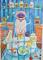"Картина ""Кофеман"" 2011 г. бумага, акварель Размеры: 60х42 см."