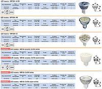 Лампы светодиодные. LED лампы. MR-16, GU-10, E14, E27, G9A, G13.