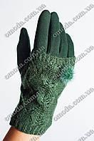 Женские кашемировые перчатки с вязкой зеленые