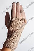 Женские кашемировые перчатки с вязкой бежевые