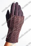Женские кашемировые перчатки с вязкой коричневые