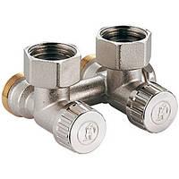 """Угловой никелированный клапан для одно- и двухтрубных систем 3/4""""FX18 (Giacomini)"""