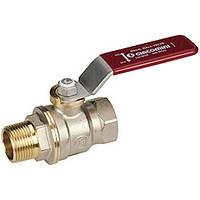 """Полнопроходной шаровой клапан DADO  с вн. и внутр. резьбой, с красным L-р.,никелированный 3/8"""" (Giacomini)"""