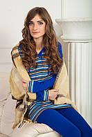 Женский трикотажный костюм для дома двойка синий Bono