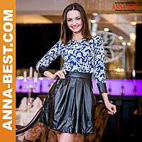 """Модное молодежное платье с кожаной юбкой """"Дана"""""""