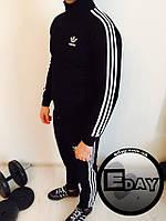 Черный мужской спортивный костюм Adidas Осень-Зима