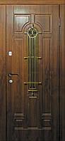Двери входные металлические Лучия со стеклом и ковкой серия Элит