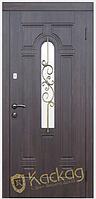 Двери входные металлические Лира со стеклом и ковкой серия Элит
