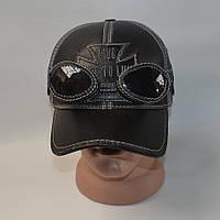 Мужская кожаная кепка черного цвета для байкеров