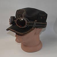 Мужская кожаная кепка немка для байкеров