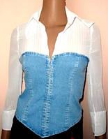 Блуза - корсет голубой джинс размер 36