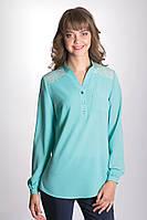 Женская блуза мятного цвета с длинным рукавом. Модель 602 Mirabelle, коллекция осень-зима 2015-2016.