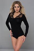 Женская блуза-боди черного цвета с гипюром. Модель 066 Gaia, коллекция осень-зима 2015-2016