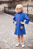 Кашемировое пальто для девочки с вышивкой