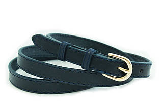 Поясок-шнурок женский кожаный Mykhail Ikhtyar Арт. 2007 синий ШхД: 1х110 см.