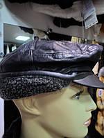Кепка кожаная  мужская на меху с козырьком и ушками-РАСПРОДАЖА