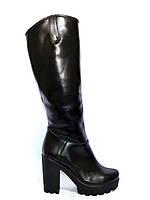 Женские  зимние сапоги на высоком каблуке, натуральная кожа, фото 1
