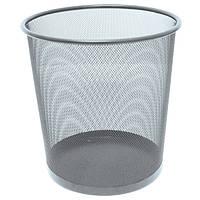 Урна для мусора круглая 265*280мм,  мелалл, серебр