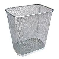 Урна для мусора офисная, прямоуг., 300*215*310 мм, металл, серебристая
