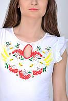 Нарядная женская футболка вышиванка  с оригинальным вырезом калина и колос