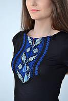Стильная молодежная футболка вышиванка с синим орнаментом колос